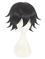 cheap -Synthetic Wig Straight Asymmetrical Haircut Synthetic Hair Cosplay Black Wig Women's Short Capless / Yes