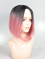 cheap -Synthetic Wig / Ombre / Highlighted Hair Straight Bob Haircut Synthetic Hair Fashionable Design / Soft / Sexy Lady Ombre Wig Women's Short Capless / Yes