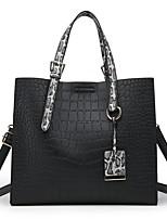 cheap -Women's Bags PU Tote Zipper / Embossed Black / Red / Gray