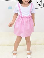 Недорогие -Дети Девочки Контрастных цветов С короткими рукавами Платье