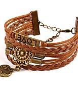 cheap -Men's Wrap Bracelet / Pendant Bracelet - Leather Heart Classic, Fashion Bracelet Brown For Daily