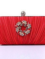 cheap -Women's Bags Silk Clutch Crystals Red / Purple / Silver