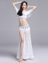 cheap -Belly Dance Outfits Women's Performance Lace Lace / Ruching Short Sleeve Dropped Skirts / Top