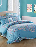 cheap -Duvet Cover Sets Geometric Poly / Cotton Reactive Print 4 Piece