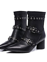 cheap -Women's Shoes Cowhide Fall Fashion Boots Boots Chunky Heel Mid-Calf Boots for Casual Black