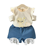 cheap -Kids Toddler Girls' Cat Print Short Sleeves Clothing Set