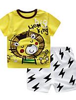 cheap -Toddler Boys' Lion Print / Color Block Short Sleeve Clothing Set