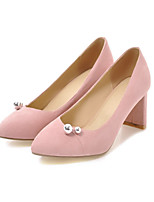 cheap -Women's Shoes Nubuck leather / PU(Polyurethane) Fall Comfort / Novelty Heels Chunky Heel Pointed Toe Beading Black / Beige / Pink