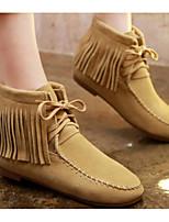 baratos -Mulheres Sapatos Pele Outono / Inverno Conforto / Botas da Moda Botas Sem Salto Botas Curtas / Ankle Preto / Verde / Camel