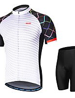 cheap -Arsuxeo Short sleeves Cycling Jersey with Shorts - White Bike