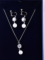 cheap -Women's Cubic Zirconia Jewelry Set - Ball Fashion, Elegant Include Drop Earrings / Pendant Necklace White For Wedding / Party
