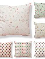 cheap -6 pcs Textile / Cotton / Linen Pillow case, Geometric / Printing / Snowflake Simple / Square Shaped