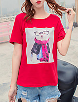 cheap -Women's Cotton T-shirt - Solid Colored / Color Block / Animal