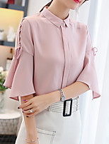 cheap -Women's Basic Blouse - Solid Colored Lace up Shirt Collar / Summer