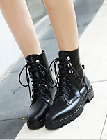 cheap -Women's Shoes Leather Winter Comfort Boots Chunky Heel for Black
