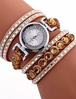 cheap -Women's Bracelet Watch Chinese Casual Watch / Cool / Imitation Diamond PU Band Bohemian / Fashion Black / White / Blue