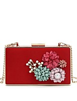 cheap -Women's Bags Velvet Evening Bag Pearls / Flower for Wedding / Event / Party Black / Red / Fuchsia