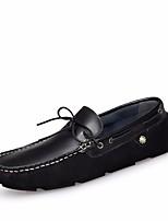 Недорогие -Муж. обувь Кожа Весна Мокасины Мокасины и Свитер для на открытом воздухе Черный Синий