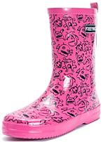 Недорогие -Жен. Обувь Латекс Осень Резиновые сапоги Ботинки На толстом каблуке Сапоги до середины икры Желтый / Пурпурный
