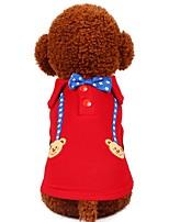 baratos -Cachorros Gatos Animais de Estimação Camiseta Roupas para Cães Padrão Estrelas Desenho Animado Vermelho Azul Algodão / Poliéster Ocasiões