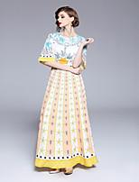 cheap -SHE IN SUN Women's Basic Flare Sleeve Sheath / Swing Dress - Geometric Print