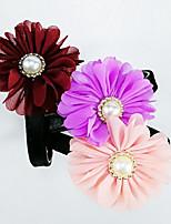 baratos -Cachorros / Gatos Colarinho Dobrável / ajustável flexível Sólido / Flor PU Leather Roxo / Rosa claro