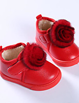 cheap -Girls' Shoes PU Winter First Walkers Casual Flower for Outdoor Red Pink