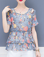cheap -women's blouse - geometric / floral round neck