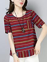 baratos -Mulheres Camiseta Listrado Algodão