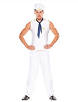 abordables -Mariner Costume Homme Costume Blanc Vintage Cosplay Spandex / Polyester Sans Manches