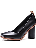 cheap -Women's Shoes Leatherette Spring & Summer Basic Pump Heels Chunky Heel Square Toe White / Black