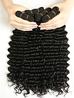 cheap -Indian Hair Curly Natural Color Hair Weaves / Human Hair Extensions 4 Bundles Human Hair Weaves Best Quality / curling Natural Black Human Hair Extensions Women's