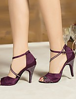 cheap -Women's Latin Shoes Silk Heel Performance / Practice Stiletto Heel Dance Shoes Black / Purple / Blue