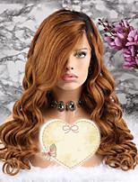 Недорогие -Remy Парик Бразильские волосы Волнистый Стрижка каскад 130% плотность С детскими волосами / 100% девственница Золотистый Короткие /