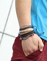 abordables -Homme Effets superposés / Empiler Bracelets - Cuir Forme de Feuille, Tortue Multicouches Bracelet Marron Pour Quotidien