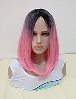 cheap -Synthetic Wig Straight Middle Part Synthetic Hair Women Pink / Ombre Wig Women's Mid Length Capless