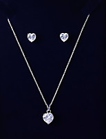 cheap -Women's Cubic Zirconia Jewelry Set - Heart Simple, Fashion Include Drop Earrings / Pendant Necklace White For Wedding / Daily