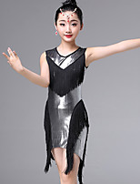 Недорогие -Латино Платья Девочки Выступление Молочное волокно С кисточками Рюши / сборки Без рукавов Платье