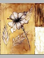 Недорогие -Hang-роспись маслом Ручная роспись - Абстракция Цветочные мотивы / ботанический Винтаж холст