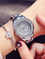 abordables -Femme Montre Habillée / Montre Bracelet Japonais Design nouveau / Montre Décontractée / Imitation de diamant Acier Inoxydable Bande Mode