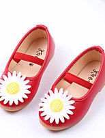 cheap -Girls' Shoes PU Fall Moccasin Flats Flower for Outdoor White Red Pink