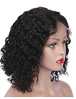 cheap -Remy Human Hair Full Lace Wig Brazilian Hair Curly Wig Short Bob 130% Natural Hairline / With Bleached Knots Women's Short Human Hair Lace Wig