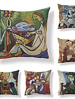 cheap -6 pcs Textile / Cotton / Linen Pillow case, Dog / Retro / Printing Abstract / Square Shaped