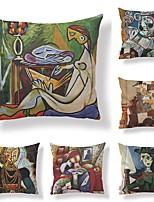 economico -6 pezzi Tessuto / Cotone / Lino Federa, Con cagnolino / Retrò / Stampe Astratto / Quadrata