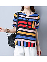abordables -Tee-shirt Femme, Rayé Arc-en-ciel - Coton