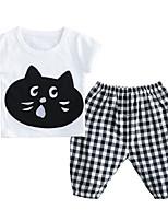 Недорогие -Дети (1-3 лет) Универсальные С принтом Шахматка С короткими рукавами Набор одежды