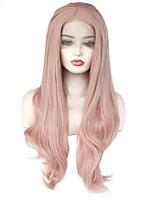 economico -Parrucche Lace Front Sintetiche Ondulato Parte di mezzo 150% Densità dei capelli umani Capelli sintetici Resistente al calore / Elastico / Da donna Rosa Parrucca Per donna Lungo Lace frontale