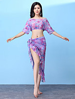 cheap -Belly Dance Outfits Women's Training Nylon Pattern / Print / Ruching / Bandage Half Sleeve Dropped Top / Hip Scarf