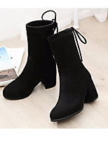 cheap -Women's Shoes Nubuck leather Fall Fashion Boots Boots Chunky Heel Mid-Calf Boots for Casual Black