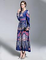 economico -Per donna Essenziale Swing Vestito - Con stampe, Fantasia geometrica Maxi